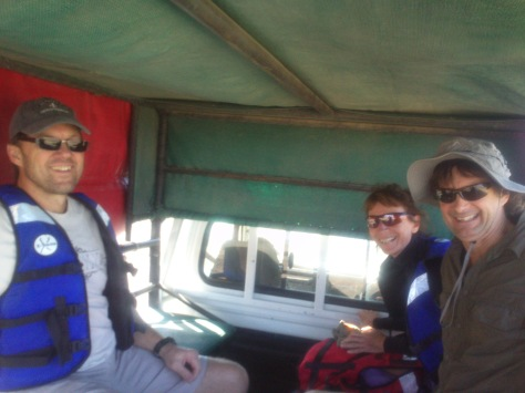 In the back of the truck, getting a lift up to the bridge to start our canoe trip down the Orange river