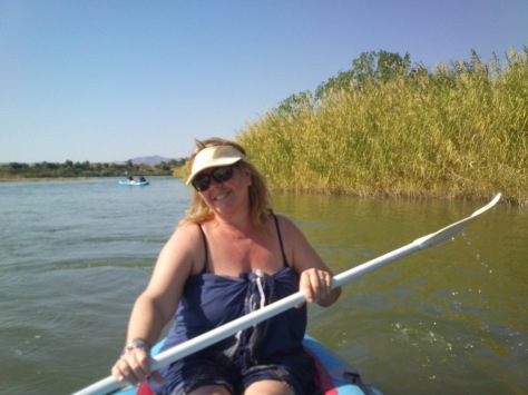 Wendy paddling down the Orange River