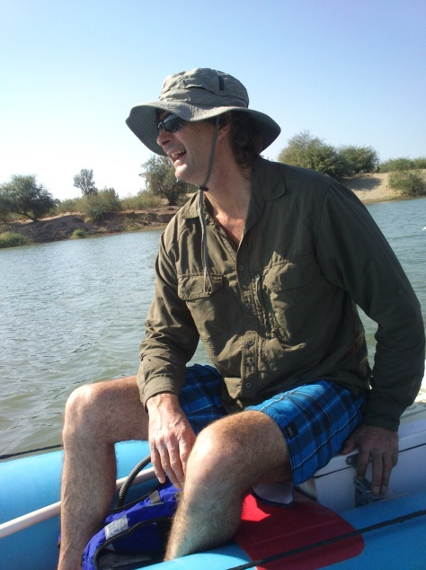 Robin relaxing on the Orange river