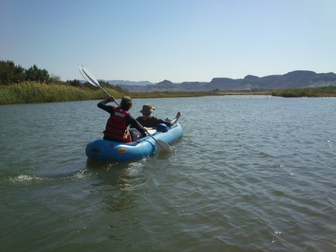 Robin and Robyn paddling and chilling down the Orange River