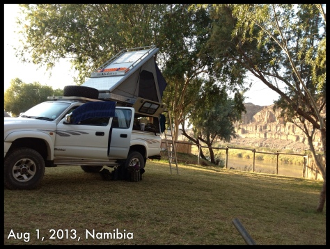 Our set up for the two nights camping at Amanzi Trails, alongside the Orange River