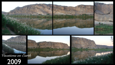 The early morning or late evenings mirror reflection of the spectacular South African mountainside on the Orange river from our campsite at Amanzi Trails - 2009