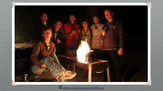Namibia 2013 - All of us around the campfire at Quivertree Forest Rest Camp (August)