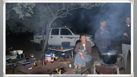Namibia 2013 - Robyn, Florian and Ian around the fire at Quivertree Forest Rest Camp (August)