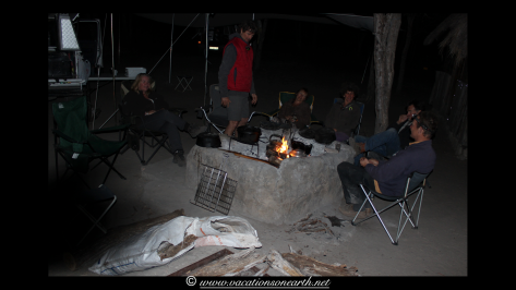 A lovely end to the day around the camp fire with strange noises out and about during the night.