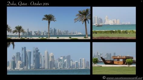 Al Corniche Street, Doha, Qatar with the Persian Gulf alongside.
