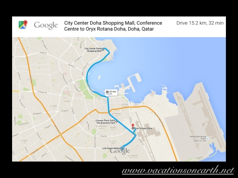 City Centre Mall via Hotel and Lulu Centre to Oryx Rotana Hotel, Doha.