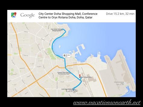 City Centre Mall via Hotel and Lulu Centre to Oryx Rotana Hotel, Doha.