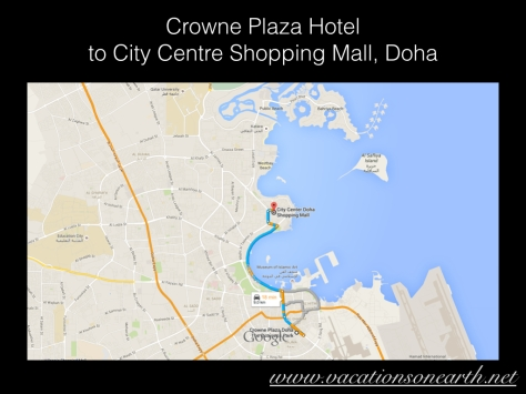 Crowne Plaza Hotel to City Centre Shopping Mall, Doha.