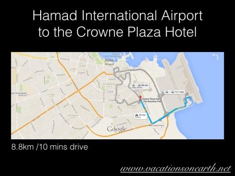 Hamad International Airport to Crowne Plaza Hotel, Doha