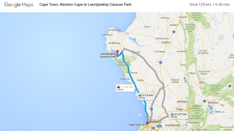 Leentjiesklip Caravan Park from Cape Town, Google Map.001