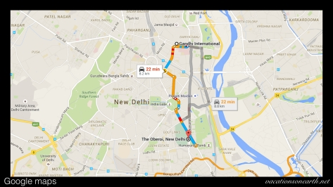 Map of the route from Ghandi International Airport to The Oberoi Hotel, New Delhi.001