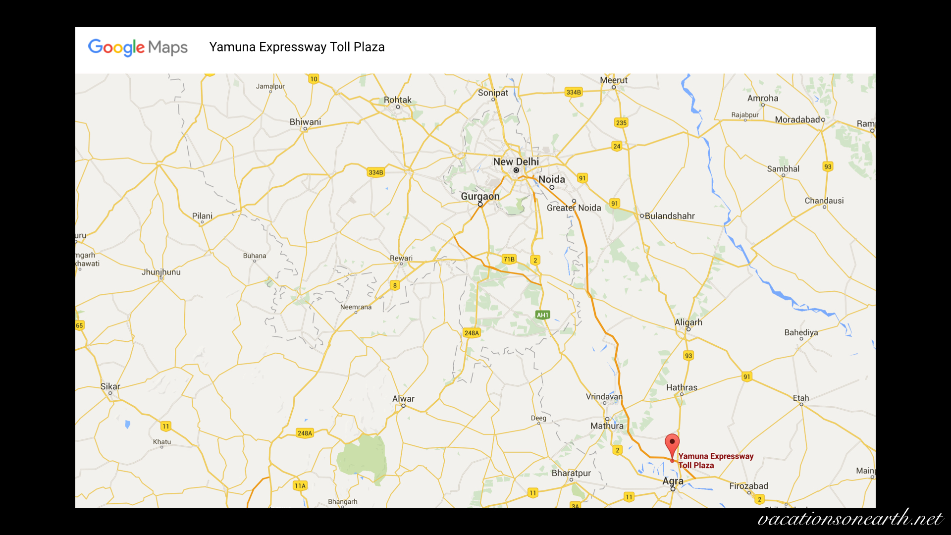 Map of Yamuna Expressway Toll Plaza route from New Delhi to Agra001