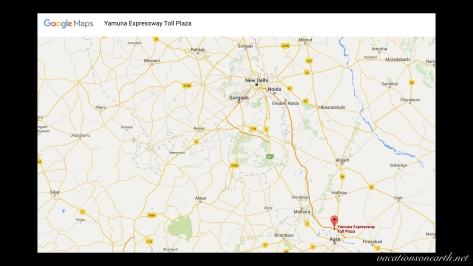 Map of Yamuna Expressway Toll Plaza route from New Delhi to Agra.001